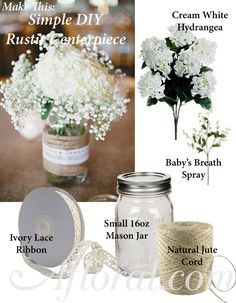 DIY Simple Rustic Centerpiece, hydrangea and baby's breath #rusticwedding photo credit: stylemepretty.com