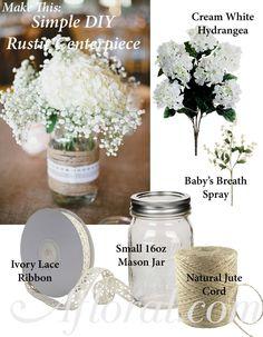 DIY Simple Rustic Centerpiece, hydrangea and baby's breath #rusticwedding photo credit: stylemepretty.com