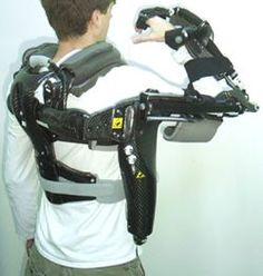 Photo of a man with robotic exoskeleton RUPERT: a device for robotic repetitive therapy. Source: Jiping He, Arizona State University via NIH (National Institute of Biomedical Imaging and Bioengineering) Exoskeleton Suit, Orthotics And Prosthetics, Futuristic Armour, Science Topics, Armor Concept, Ex Machina, Robot Design, Body Armor, Wearable Technology
