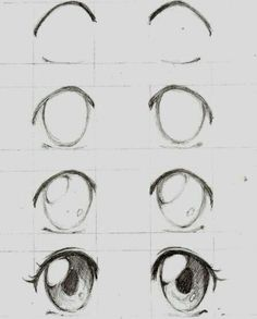 Learn To Draw Manga - Drawing On Demand - Anime / manga eyes step by step – # animemanga - Eye Drawing Tutorials, Drawing Techniques, Drawing Tips, Drawing Ideas, Drawing Drawing, Sketch Ideas, Hair Tutorials, Art Drawings Sketches, Easy Drawings