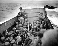 USA and WW2. H-hour,June 1944 . Omaha Beach Landing Craft Approaches