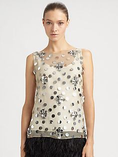 Milly Paillette-Embellished Silk Top
