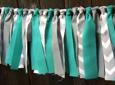 Turquoise and Grey Chevron Fabric Rag Tie Garland - Turquoise Grey Fabric Banner / Backdrop on Etsy, $20.00