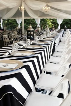 Black and White Striped Tablecloth 1 DAY FREESHIP Kate Spade Striped tablecloth bridal shower Sweet 16 Derby BBQ party Quinceaneras black & white party ideas White Table Settings, White Tables, Grey Table, Black Table, Black White Parties, Black And White Party Decorations, Black Party, White Napkins, White Tablecloth