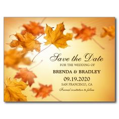 Fall Wedding Save The Date With Orange Leaves Postcard