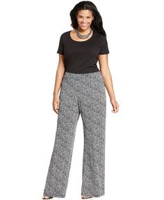 9817945bbba Elementz Plus Size Printed Wide-Leg Soft Pants
