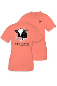 """Simply Southern peach t-shirt with adorable cow on the back and the saying """"raised in the country."""""""