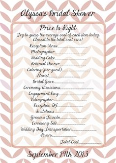 1000 images about bridal shower ideas on pinterest for Price is right bridal shower game template
