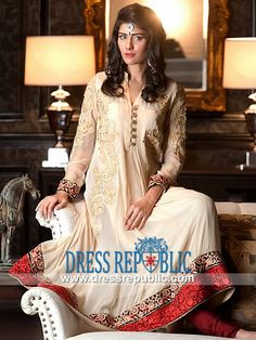 Vanilla Collar Neck Long Shirt with Churidar Pajama Party wear Suits for Ladies by Threads and Motif