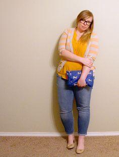 DIY FATSHION www.diyfatshion.com  blue, orange, stripes, ootd, fatshion