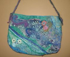 Machine Felted Bag using the embellisher 12 needle baby lock machine Leather Upholstery Fabric, Long Arm Quilting Machine, Quilting Classes, Felt Art, Fabric Art, Handmade Bags, Needle Felting, Wool Felt, Purses And Bags