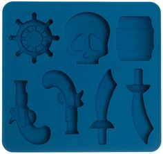 PIRATE ICE TRAY - Shiver me ice cubes! This silicone ice tray will create 7 pirate themed ice cubes including barrels, ships wheels, skulls, guns, and swords!