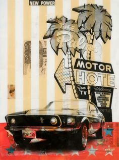 """New Power (Palms Motor Hotel) 2011 48"""" x 36"""" Mixed Media and resin on wood panel"""