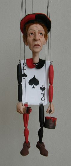 Two of Spades marionette by AM Creatures #puppet #AliceInWonderland…