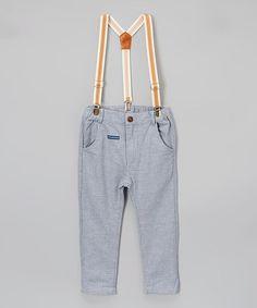 Look at this #zulilyfind! Blue Pants & Suspenders - Infant & Toddler #zulilyfinds