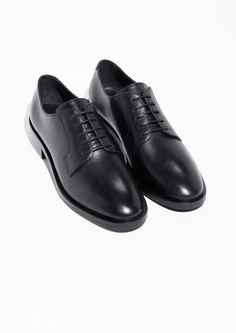 & Other Stories image 2 of Lace Up Leather Loafers in Black