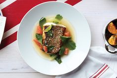 Serving a perfectly cooked, crisp-skinned piece of fish in a seasoned lime broth lets you get a spoonful of bright flavor in every bite. Fish Recipes, New Recipes, Cooking Recipes, Seafood Recipes, Green Curry, Halibut, Just Cooking, Fish Sauce, Food Menu