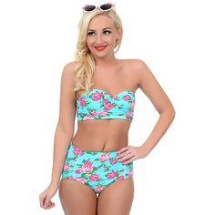 Betsey Johnson Light Blue & Pink Rose Garden Retro High-Waist Swim... ($40) ❤ liked on Polyvore featuring swimwear, bikinis, bikini bottoms, blue, floral high waisted bikini bottoms, pink bikini, pink high waisted bikini, floral bikini and retro swimwear