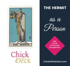 The Hermit as a person is quite likely introverted. You will often find this person alone, reading books, doing research, and generally doing their own thing. They are the quintessential loner. Tarot Cards, Introvert, Books To Read, Deck, Positivity, Relationship, Feelings, Reading, Tarot Card Decks