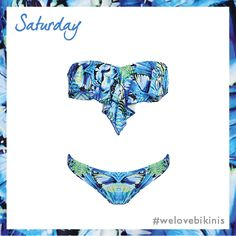 Seafolly Take Flight Cascade Bandeau Bikini Top Set in China Blue #BikiniOfTheDay #Saturday #figleaves