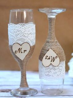 Wedding Champagne Flutes  Set of two champagne glasses for the future Mr and Mrs !  Decorated with elegant lace and wrapped twine .  The wooden