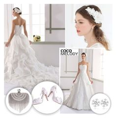 """""""Wedding Dress with Appliques and Removable Train"""" by pinki1994 ❤ liked on Polyvore featuring Cocomelody"""