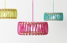 """penchant-for-design: Spanish designer Silvia Ceñal Idarreta has created the Macaron lamp. """"Macaron lamp started when I discovered everything that could be done with fabrics and laces. I wanted to mix wood and a simple lace."""