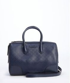 Gucciblue diamante coated canvas and leather top handle convertible tote