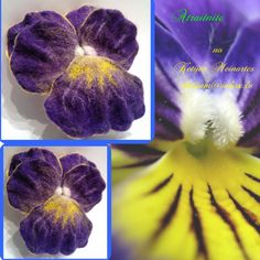 Felted pansy brooch by Ketijasmade on Etsy, $50.00