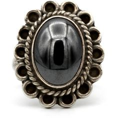 Hematite Flower Ring, Southwestern womens ring, Silver ring size 10,... ($48) ❤ liked on Polyvore featuring jewelry, rings, flower band ring, silver statement rings, vintage rings, vintage cocktail rings and heart band ring