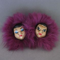 Vintage Ceramic Elzac Eskimo Twins Pin With Real Fur