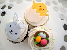 Easter handmade edible fondant cupcake toppers by FancyTopCupcake, $16.00