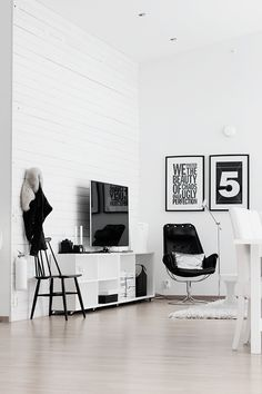 black/white living room