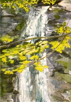 Highlighted leaves at Plattekill Falls - watercolor waterfalls painted by Gretchen Kelly -- Gretchen Kelly