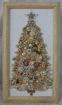 Framed Jewelry Christmas Tree*****maybe use in squares for modern look to keep o. - Framed Jewelry Christmas Tree*****maybe use in squares for modern look to keep out all year - Noel Christmas, Christmas Jewelry, Vintage Christmas, Christmas Necklace, White Christmas, Christmas Ornaments, Jewelry Frames, Jewelry Tree, Jewelry Box