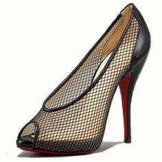 christian louboutin replica mens shoes - christian louboutin Fetilo pumps Black fishnet peep toes | The ...