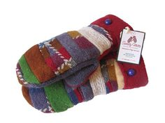 SWEATY MITTS Designer Patchwork Mittens Upcycled by SweatyMitts, $38.00 Women's Repurposed - Recycled Sweater Mittens Wool Lambswool