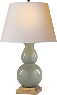 """SMALL GOURD FORM LAMP  - Circa Lighting Height: 26""""  Width:16""""  Base: 6"""" Square Shade: 11"""" x 16"""" x 11"""""""
