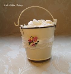 12 x Decorated Wedding Pails. English Country Weddings, Country Style Wedding, Wedding Favours, Wedding Stationery, Party Favors, Crystal Snowflakes, Place Names, Menu Cards, Ivory Wedding