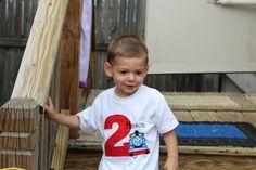 Birthday boy with personalized Thomas tee