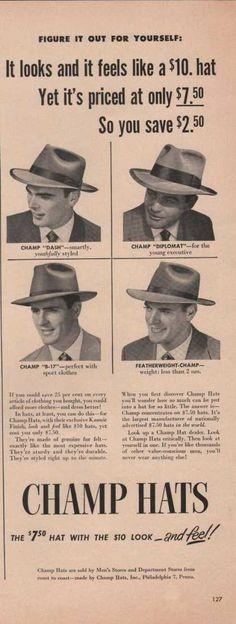 8e4205da172d Champ Mens Dress Hats (1949) Mens Dress Hats