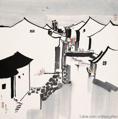Reproduction Modern Chinese Painting On Canvas By Wu Guanzhong Wu Guanzhong, Cerámica Ideas, Chinese Contemporary Art, Tinta China, China Art, Chinese Architecture, Traditional Paintings, Orient, Oil Painting Abstract