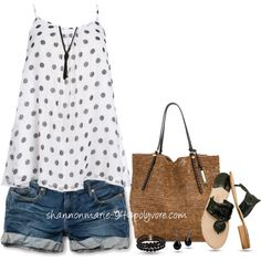 """""""Denim Shorts & Cami Top"""" by shannonmarie-94 on Polyvore"""