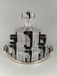 Czech Art Deco Glass Liquor Set and Tray by Karl Palda, 1930s