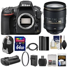 Nikon D810 Digital SLR Camera & 24-120mm f/4 VR Lens with 64GB Card + Backpack + Grip + Battery & Charger + Kit. KIT INCLUDES 12 PRODUCTS -- All BRAND NEW Items with all Manufacturer-supplied Accessories + Full USA Warranties:. [1] Nikon D810 Digital SLR Camera & 24-120mm f/4 VR Lens + [2] Transcend 64GB SDXC 300x Card + [3] PD DSLR Sling Backpack +. [4] MB-D12 Battery Grip + [5] Spare EN-EL15 Battery + [6] Battery Charger +. [7] Vivitar 77mm UV Glass Filter + [8] PD HDMI to Mini-HDMI…
