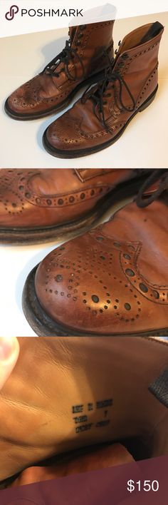 Joseph Cheaney & Sons Wingtip Lace Up Leather Boot Handcrafted, English workmanship at its finest. Beautiful classic wingtip boot that will last you the test of time. These boots are in great used condition. Wear at bottom of shoe but no need to resole. Leather could use some conditioning and any scuffs are only on the surface.   Make me an offer! Joseph Cheaney & Sons Shoes Boots