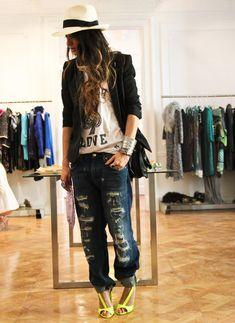 zara jeans & tshirt & shoes, panama hat, topshop blazer, 5/26/12