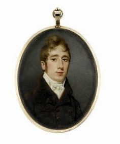 Samuel John Stump (British, 1778-1863) -  A Gentleman, wearing brown coat, white waistcoat, chemise, stock and cravat. Signed on the obverse Stump pinxit, gold frame, blue glass to the reverse. Oval, 81mm (3 3/16in) high