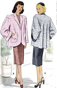 1940s Misses Swing Coat Vintage Sewing Pattern by MissBettysAttic, $22.00
