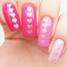 Pink ombré heart mani by the lovely @liliumzz.  - Heart Nail Stencils snailvinyls.com